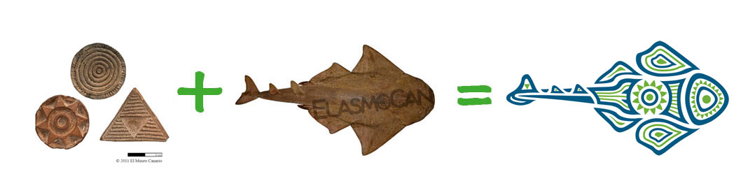The logo from ElasmoCan: Angelshark and aboriginal paintings